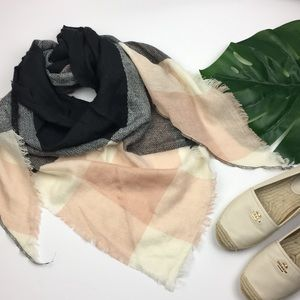 Accessories - Pink and Gray Blanket Scarf